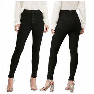Express Ankle Legging Super High Rise Button Jeans